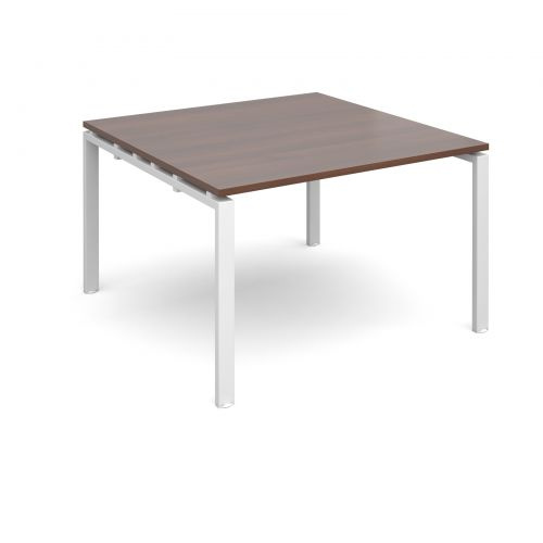 Image for Adapt II boardroom table starter unit 1200mm x 1200mm - white frame and walnut top