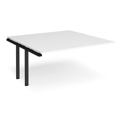 Adapt boardroom table add on unit 1600mm x 1600mm - black frame and white top