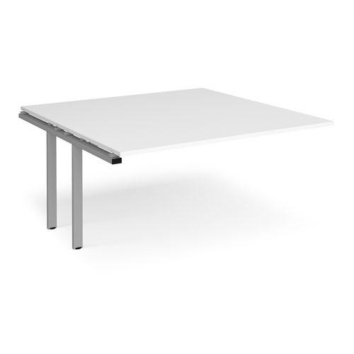 Adapt boardroom table add on unit 1600mm x 1600mm - silver frame and white top