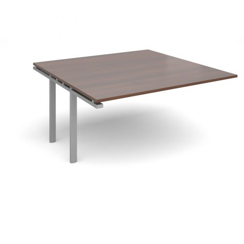 Adapt II boardroom table add on unit 1600mm x 1600mm - silver frame and walnut top
