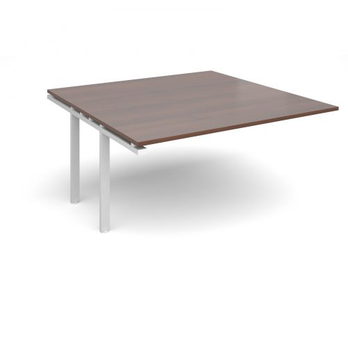 Image for Adapt II boardroom table add on unit 1600mm x 1600mm - white frame and walnut top