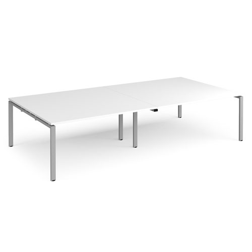 Adapt rectangular boardroom table 3200mm x 1600mm - silver frame and white top