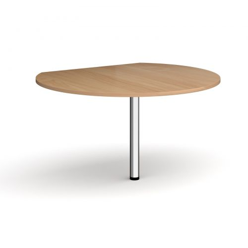 Image for D-end desk extension circular table 1200mm diameter with chrome leg - beech top
