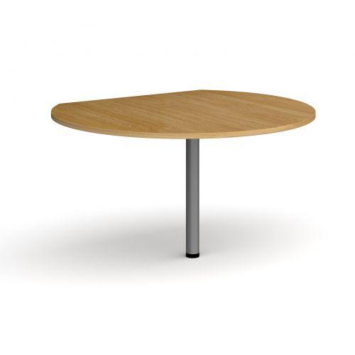 D-end desk extension circular table 1200mm diameter with graphite leg - oak top
