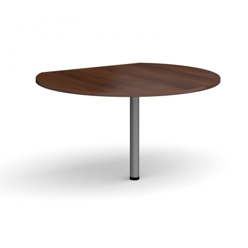 Image for D-end desk extension circular table 1200mm diameter with graphite leg - walnut top