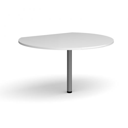 Image for D-end desk extension circular table 1200mm diameter with graphite leg - white top