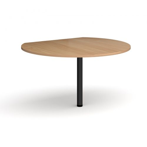 Image for D-end desk extension circular table 1200mm diameter with black leg - beech top