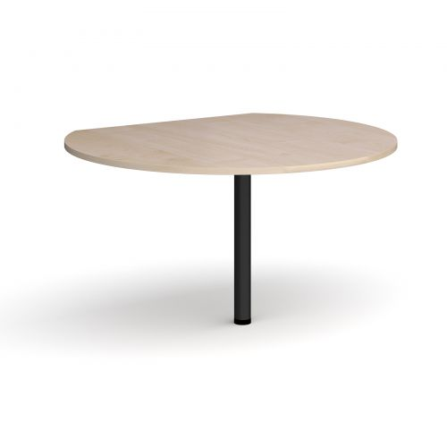 Image for D-end desk extension circular table 1200mm diameter with black leg - maple top