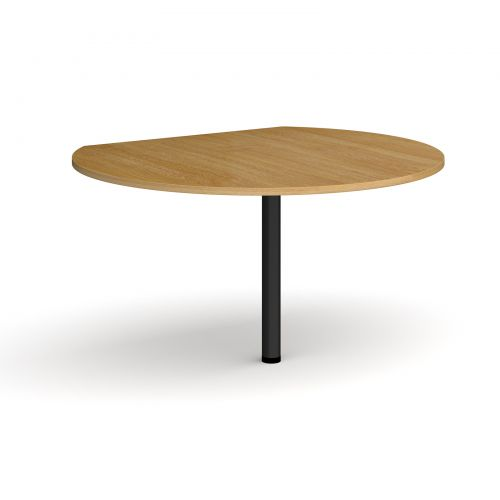 Image for D-end desk extension circular table 1200mm diameter with black leg - oak top