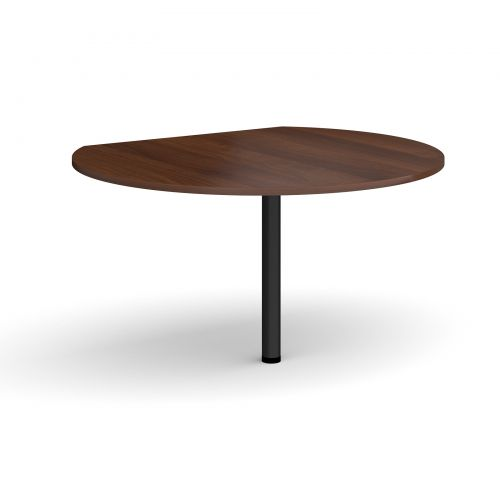 Image for D-end desk extension circular table 1200mm diameter with black leg - walnut top