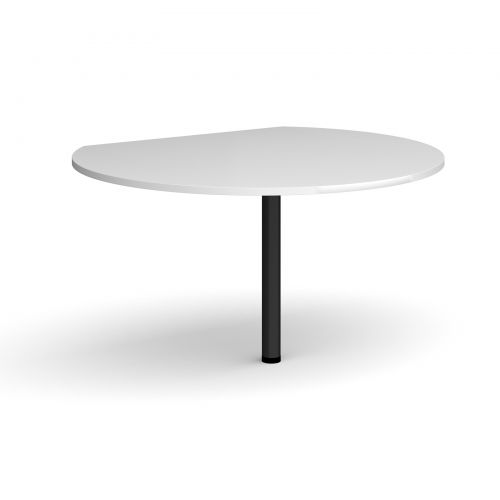 Image for D-end desk extension circular table 1200mm diameter with black leg - white top