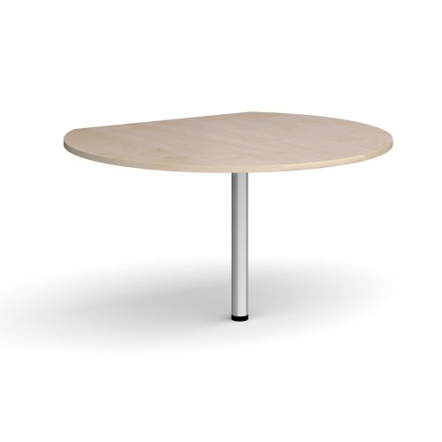 D-end desk extension circular table 1200mm diameter with silver leg - maple top
