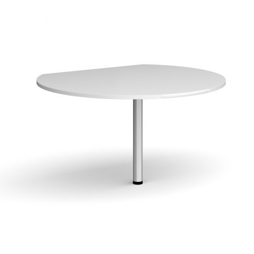 D-end desk extension circular table 1200mm diameter with silver leg - white top