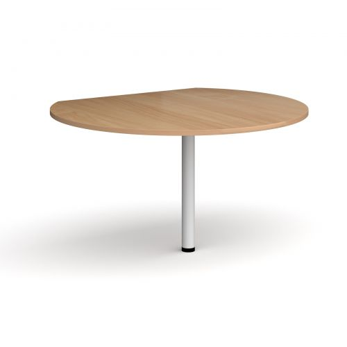 D-end desk extension circular table 1200mm diameter with white leg - beech top