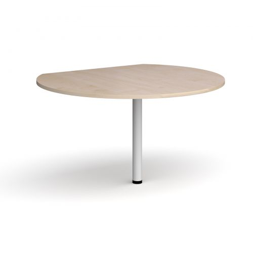 D-end desk extension circular table 1200mm diameter with white leg - maple top