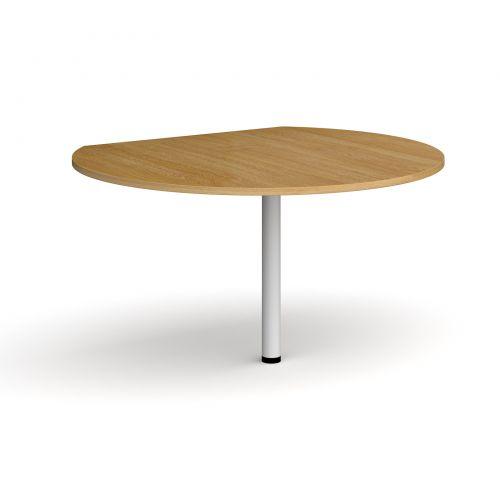 D-end desk extension circular table 1200mm diameter with white leg - oak top
