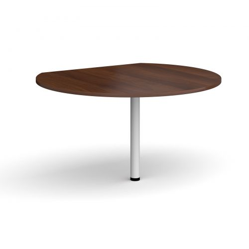 D-end desk extension circular table 1200mm diameter with white leg - walnut top