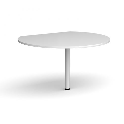 D-end desk extension circular table 1200mm diameter with white leg - white top