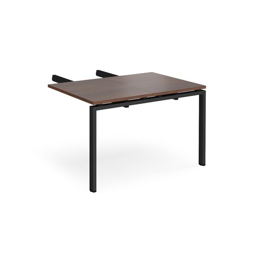 Image for Adapt add on unit double return desk 800mm x 1200mm - black frame and walnut top