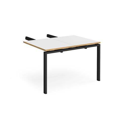 Image for Adapt add on unit double return desk 800mm x 1200mm - black frame and white top with oak edge