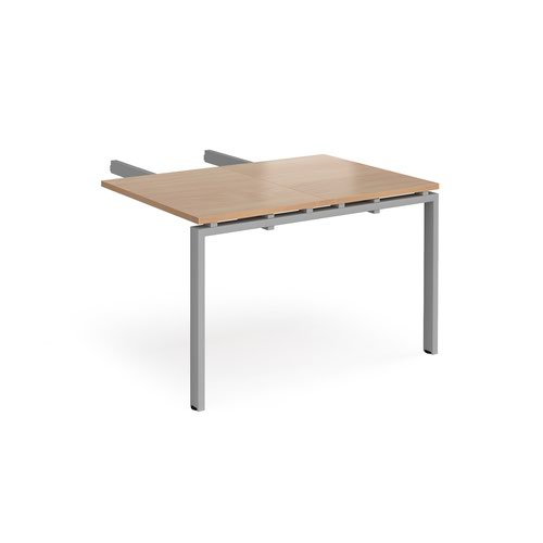 Image for Adapt add on unit double return desk 800mm x 1200mm - silver frame and beech top