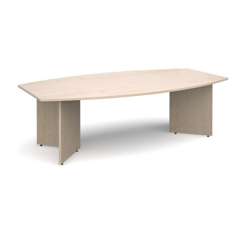 Image for Arrow head leg radial boardroom table 2400mm x 800/1300mm - maple