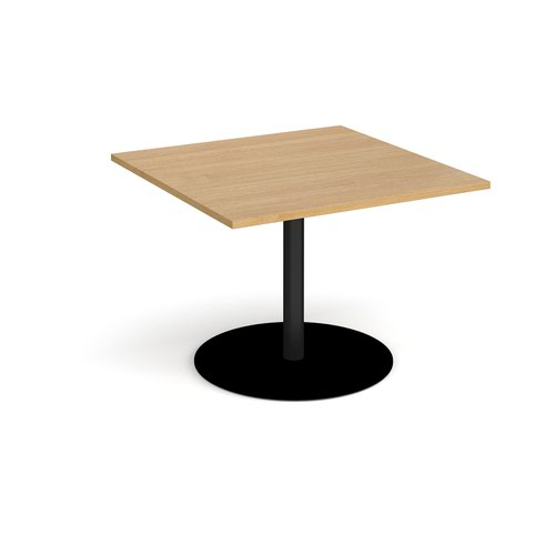Eternal square extension table 1000mm x 1000mm - black base and oak top