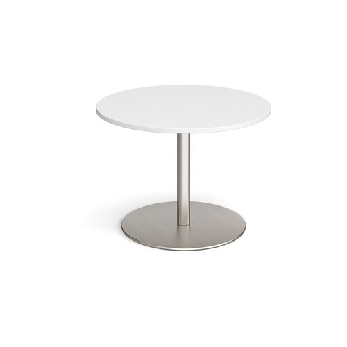 Eternal circular boardroom table 1000mm - brushed steel base and white top