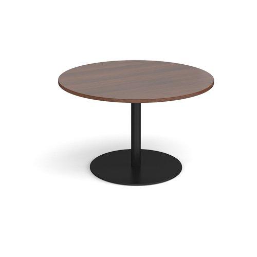 Eternal circular boardroom table 1200mm - black base and walnut top