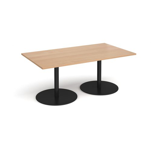 Eternal rectangular boardroom table 1800mm x 1000mm - black base and beech top