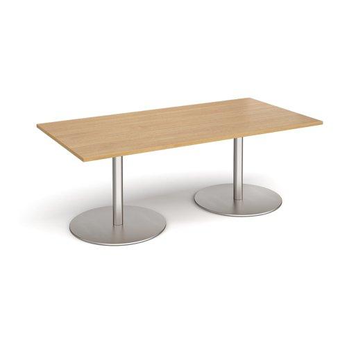 Eternal rectangular boardroom table 2000mm x 1000mm - brushed steel base and oak top