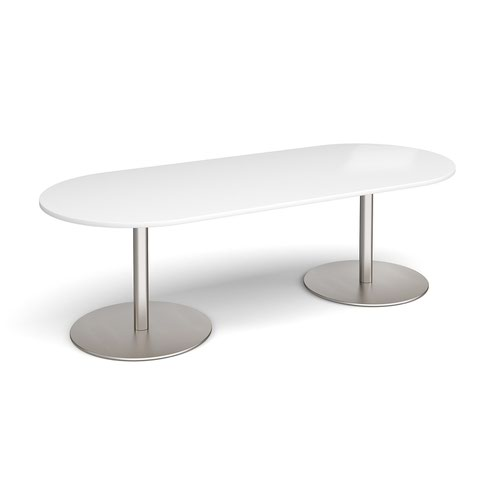 Eternal radial end boardroom table 2400mm x 1000mm - brushed steel base and white top