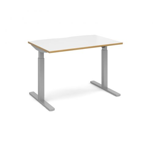 Image for Elev8 Mono straight sit-stand desk 1200mm x 800mm - silver frame and white top with oak edge
