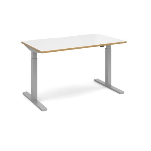 Image for Elev8 Mono straight sit-stand desk 1400mm x 800mm - silver frame and white top with oak edge
