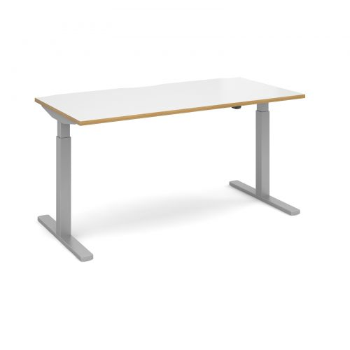 Image for Elev8 Mono straight sit-stand desk 1600mm x 800mm - silver frame and white top with oak edge