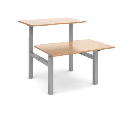 Image for Elev8 Mono sit-stand back-to-back desks 1200mm x 1650mm - silver frame and beech top