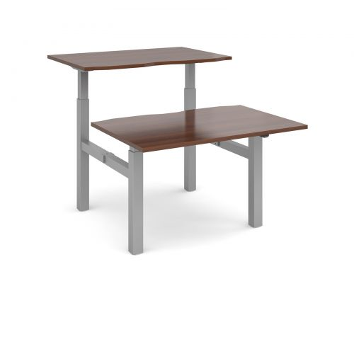 Image for Elev8 Mono sit-stand back-to-back desks 1200mm x 1650mm - silver frame and walnut top