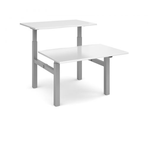 Image for Elev8 Mono sit-stand back-to-back desks 1200mm x 1650mm - silver frame and white top