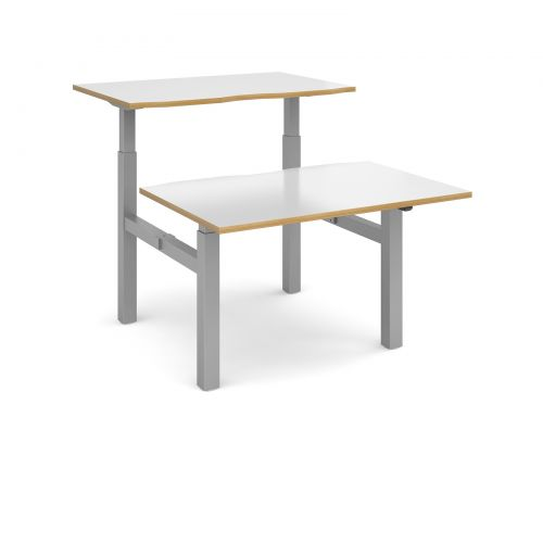 Image for Elev8 Mono sit-stand back-to-back desks 1200mm x 1650mm - silver frame and white top with oak edge