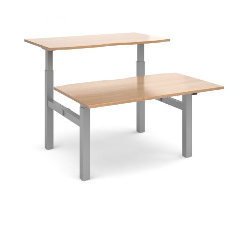 Image for Elev8 Mono sit-stand back-to-back desks 1400mm x 1650mm - silver frame and beech top