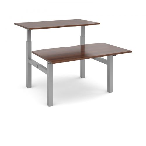 Image for Elev8 Mono sit-stand back-to-back desks 1400mm x 1650mm - silver frame and walnut top
