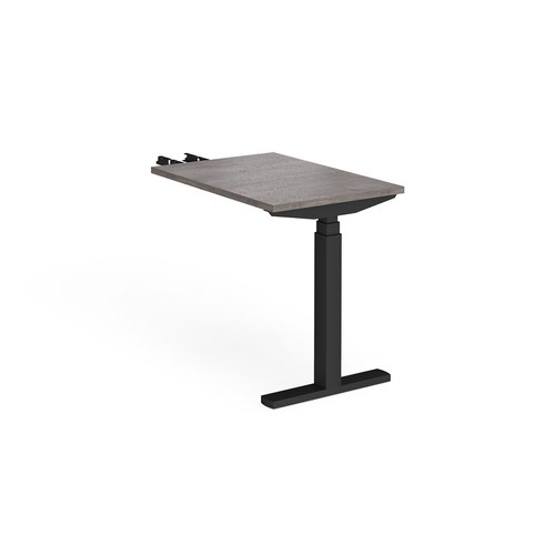 Elev8 Touch sit-stand return desk 600mm x 800mm - black frame and grey oak top
