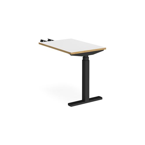 Elev8 Touch sit-stand return desk 600mm x 800mm - black frame and white top with oak edge