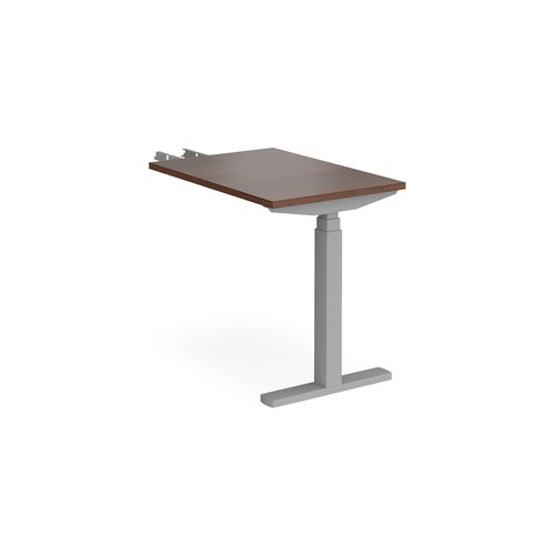 Elev8 Touch sit-stand return desk 600mm x 800mm - silver frame and walnut top
