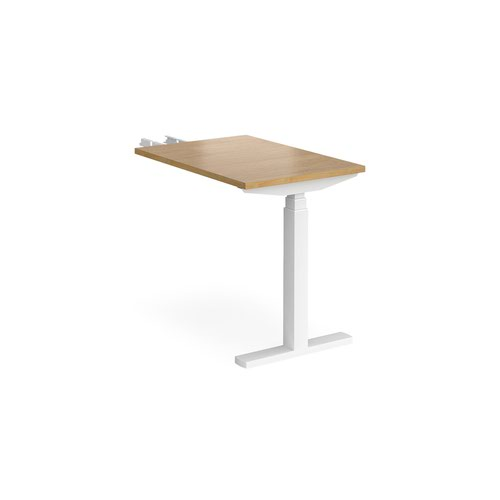 Elev8 Touch sit-stand return desk 600mm x 800mm - white frame and oak top