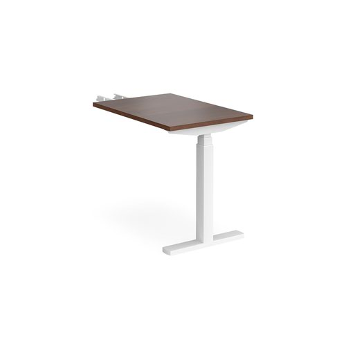 Elev8 Touch sit-stand return desk 600mm x 800mm - white frame and walnut top