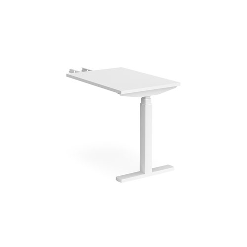 Elev8 Touch sit-stand return desk 600mm x 800mm - white frame and white top