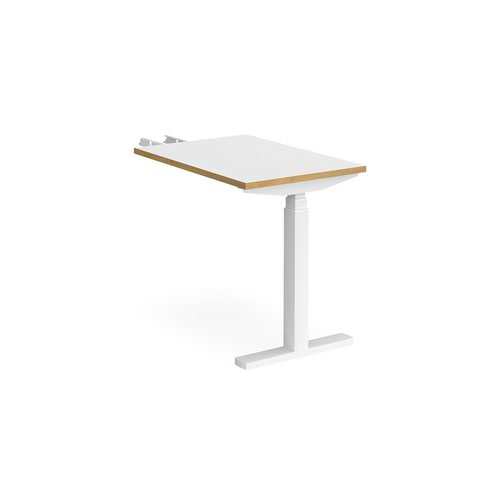 Elev8 Touch sit-stand return desk 600mm x 800mm - white frame and white top with oak edge