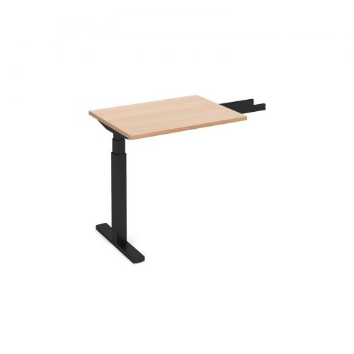 Elev8 Touch sit-stand return desk 600mm x 800mm - black frame and beech top