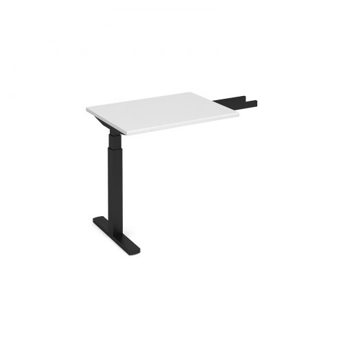 Elev8 Touch sit-stand return desk 600mm x 800mm - black frame, white top